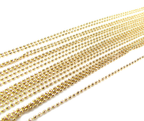 14K Solid Gold Sparkle Bead Chain