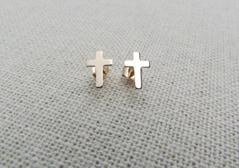 14K Cross stud Earrings