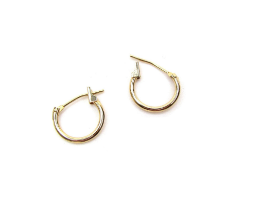 14K Mini Polished Hoop Earrings