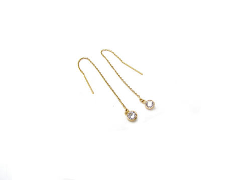 14K Solid Gold CZ Threader Earrings