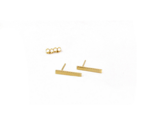 14K Large Bar Stud Earrings