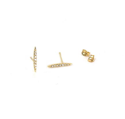 14K Marquise Diamond Bar Stud Earrings