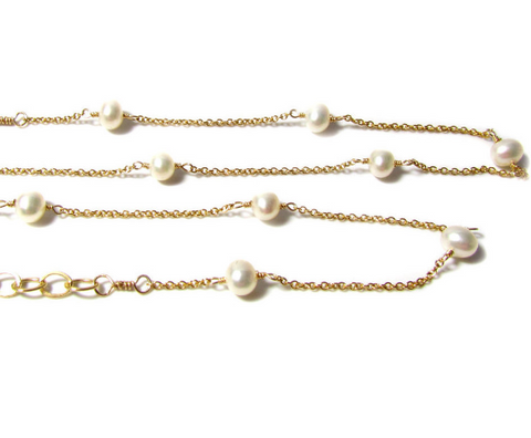 Pearl Y Necklace • Gold Filled Tin Cup Pearl Lariat