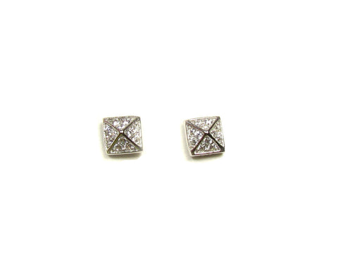Tiny CZ Pyramid Stud Earrings