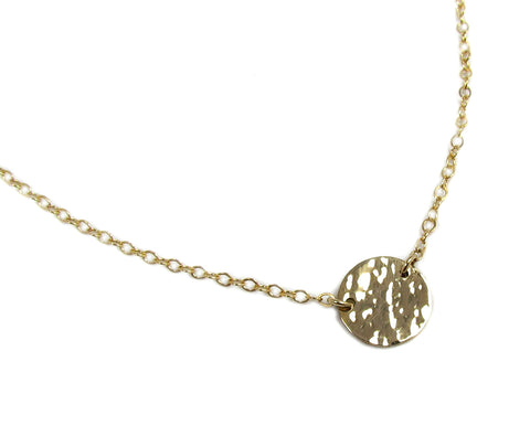14K Hammered Disc Station Necklace • Solid Yellow Gold