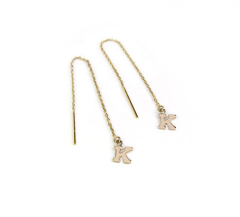 14K Solid Gold Initial Threader Earrings