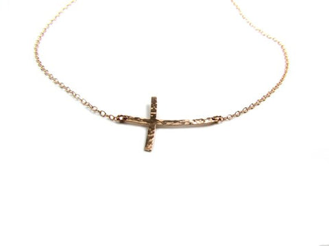Hammered Curved Sideways Cross Necklace
