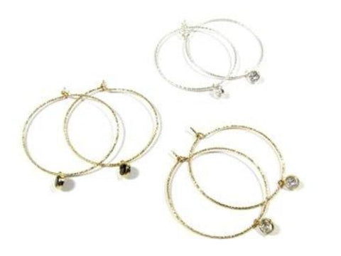 Sparkle Hoop Earrings with Dangling CZ Stones