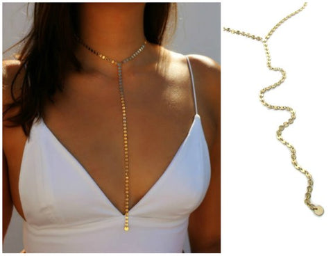 Coin Choker Long Y Lariat Disc Necklace