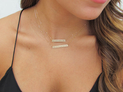 14K Roman Numeral Personalized Bar Necklace