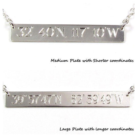 Coordinates Engraved Name Plate Bar Necklace