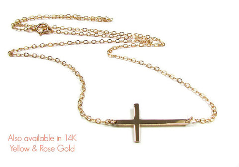 14KT Solid Gold Small Sideways Cross Necklace