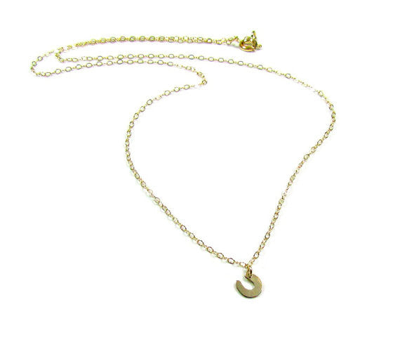 14KT Solid Gold Tiny Horseshoe Charm Necklace