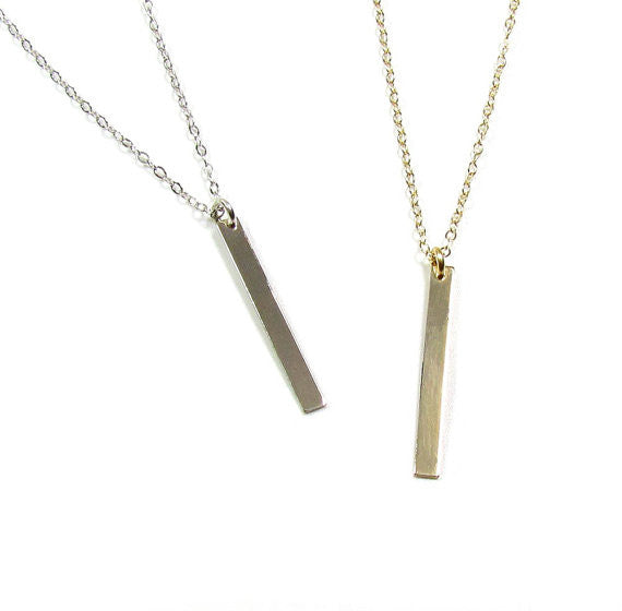 14K Vertical Dangling Bar Necklace