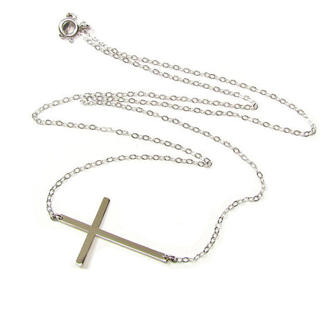 14K Large Sideways Cross Necklace