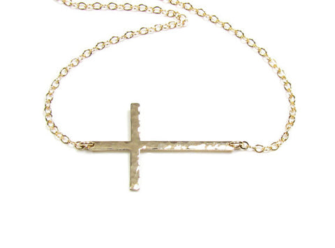 Hammered Sideways Cross Necklace