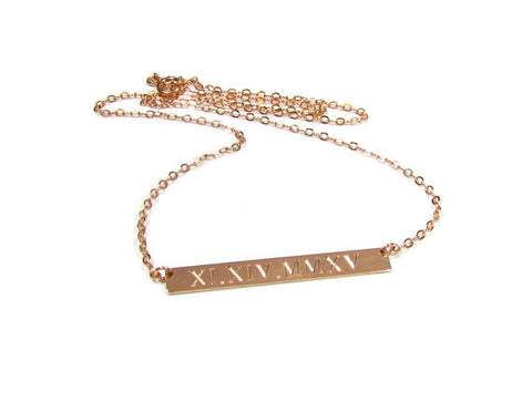 Rose Gold Filled Engraved Nameplate Bar Necklace