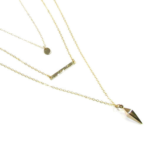 Set of 3 Layering Necklaces - Hammered Bar, Tiny Disc and Long Spike Necklace