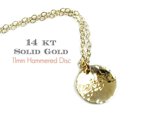 Hammered Disc Engraved Necklace • 14KT Solid Yellow Gold