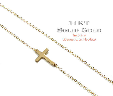 14KT Solid Gold Skinny Tiny Sideways Cross Necklace