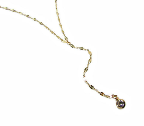 CZ Long Y Lariat Necklace