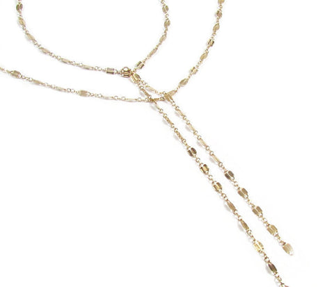 Double Strand Y Lariat Necklace