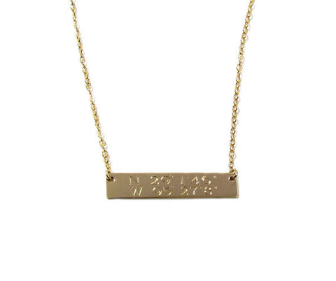 Double Line Personalized Engraved Bar Necklace