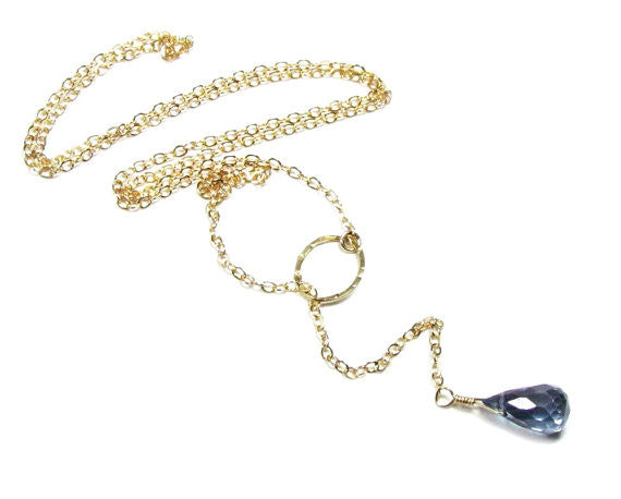 Mystic Blue Quartz Lariat Necklace