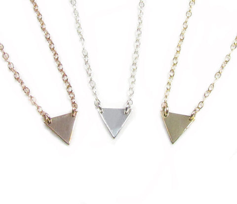 Set of 3 Layering Necklaces- Tiny Triangle Necklace, Vertical Bar Necklace and Hammered Disc Necklace