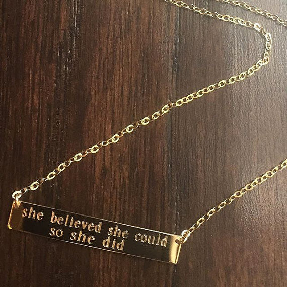 Double Line Personalized Bar Necklace