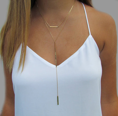 Double Bar Long Y Necklace