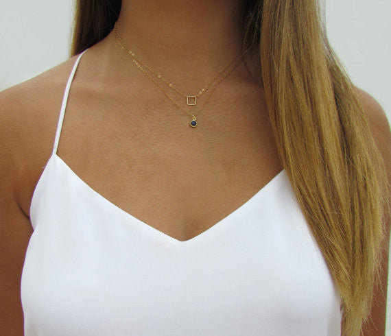 Tiny Open Square Geometric Necklace