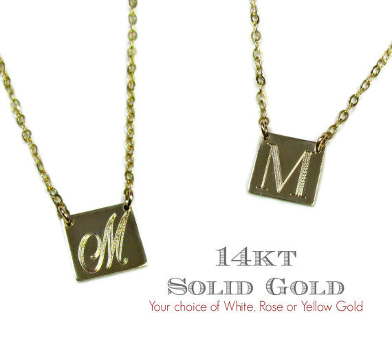14K Engraved Initial Square Necklace