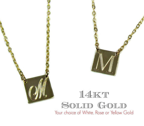 14KT Solid Gold Yellow, White and Rose Gold Engraved Initial Square Necklace