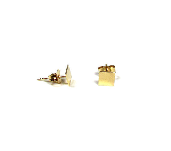 14KT Solid Gold Small Square Stud Earrings