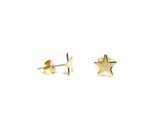 Tiny Celestial Star Stud Earrings in 14KT Solid Gold