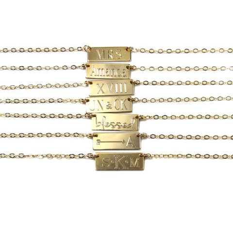 Mini Bar Engraved Necklace