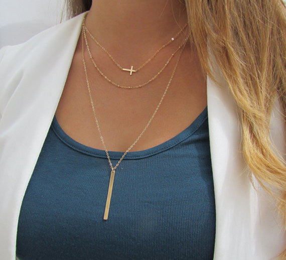 Set of 3 Layering Necklaces - Sideways Cross, Beaded Chain, Long Vertical Bar Necklace