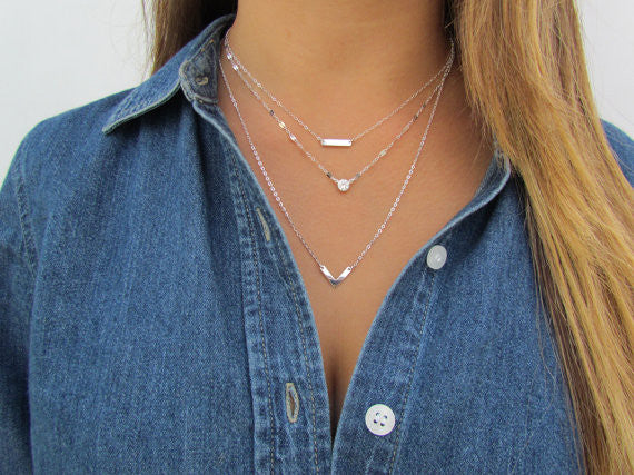 Set of 3 Layering Necklaces - Tiny Dash Bar, Lana Blake Refelctive Chain, Small Cheveron V Necklace