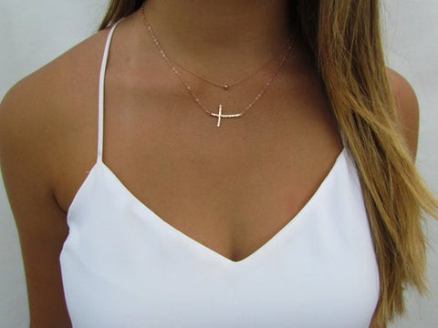 Keeping the Faith Set: Curved Sideways Cross and Tiny Hammered Ball Necklace