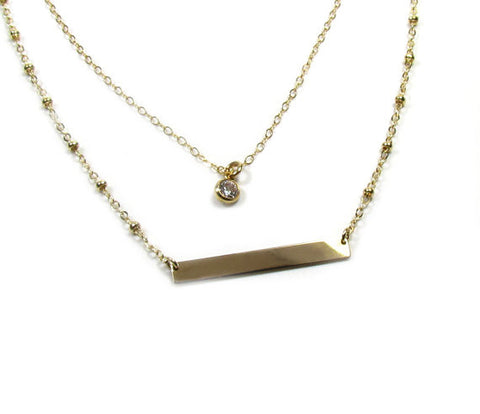 Set of 2 Layering Necklaces - Dainty CZ Solitaire Necklace and Engraved Bar Necklace