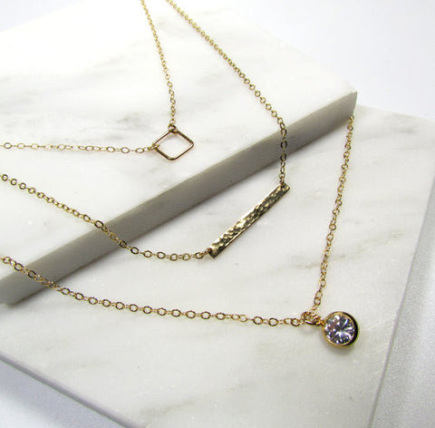 Set of 3 Layering Necklaces - Geometric Square, Small Hammered Bar, Long CZ Charm Necklace