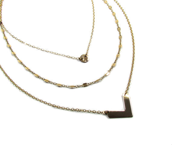 Set of 3 Layering Necklaces - Tiny Hammered Disc, Double Bar Refelctive Chain, Cheveron V Necklace