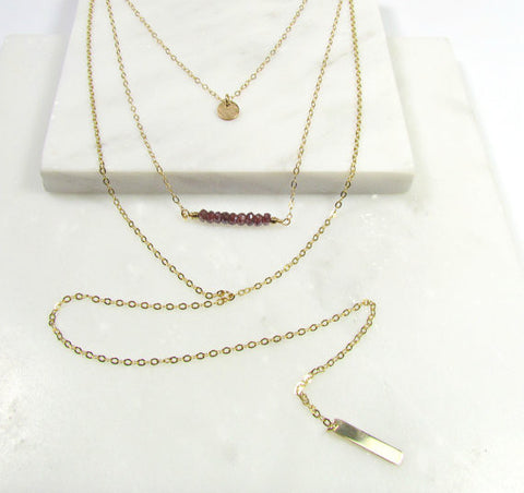 Set of 3 Layering Necklaces - Hammered Tiny Disc, Gemstone Horizontal Bar, Mini Vertical Bar Long Y Necklace