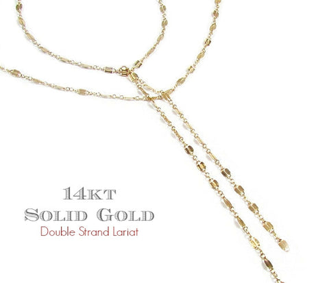 14K Double Strand Lariat Necklace