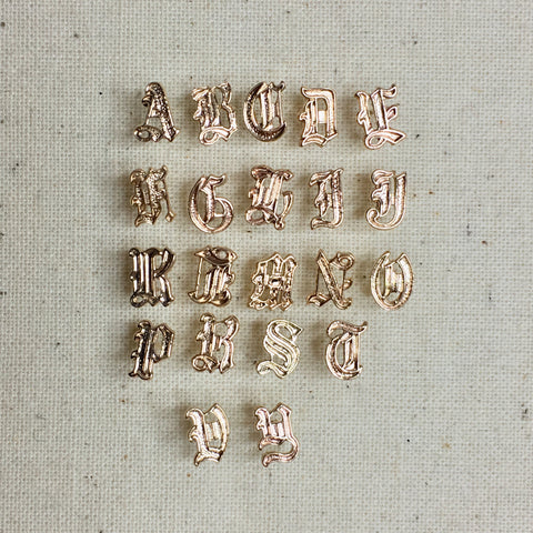 14K Old English Initial Stud Earrings, Alphabet Stud Earrings