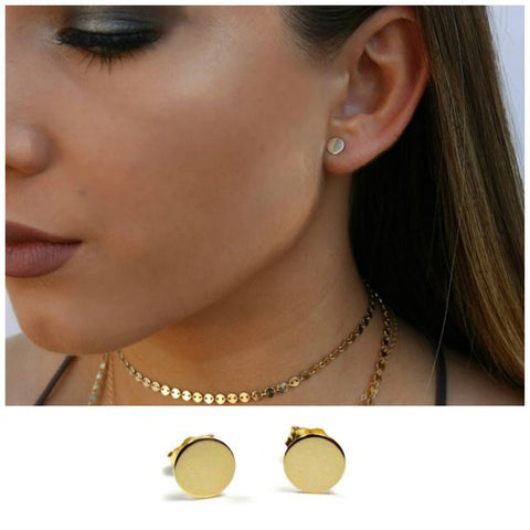 14K Dots Of Gold Circle Studs