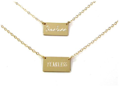 Small Rectangle Engraved Name Plate Necklace