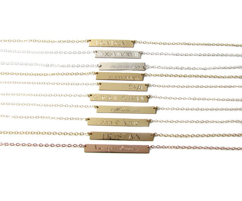 Engraved Nameplate Bar Necklace