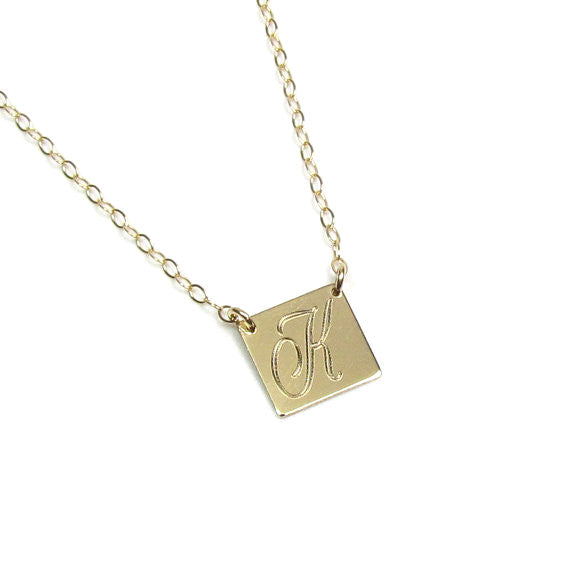 Engraved Initial Square Necklace